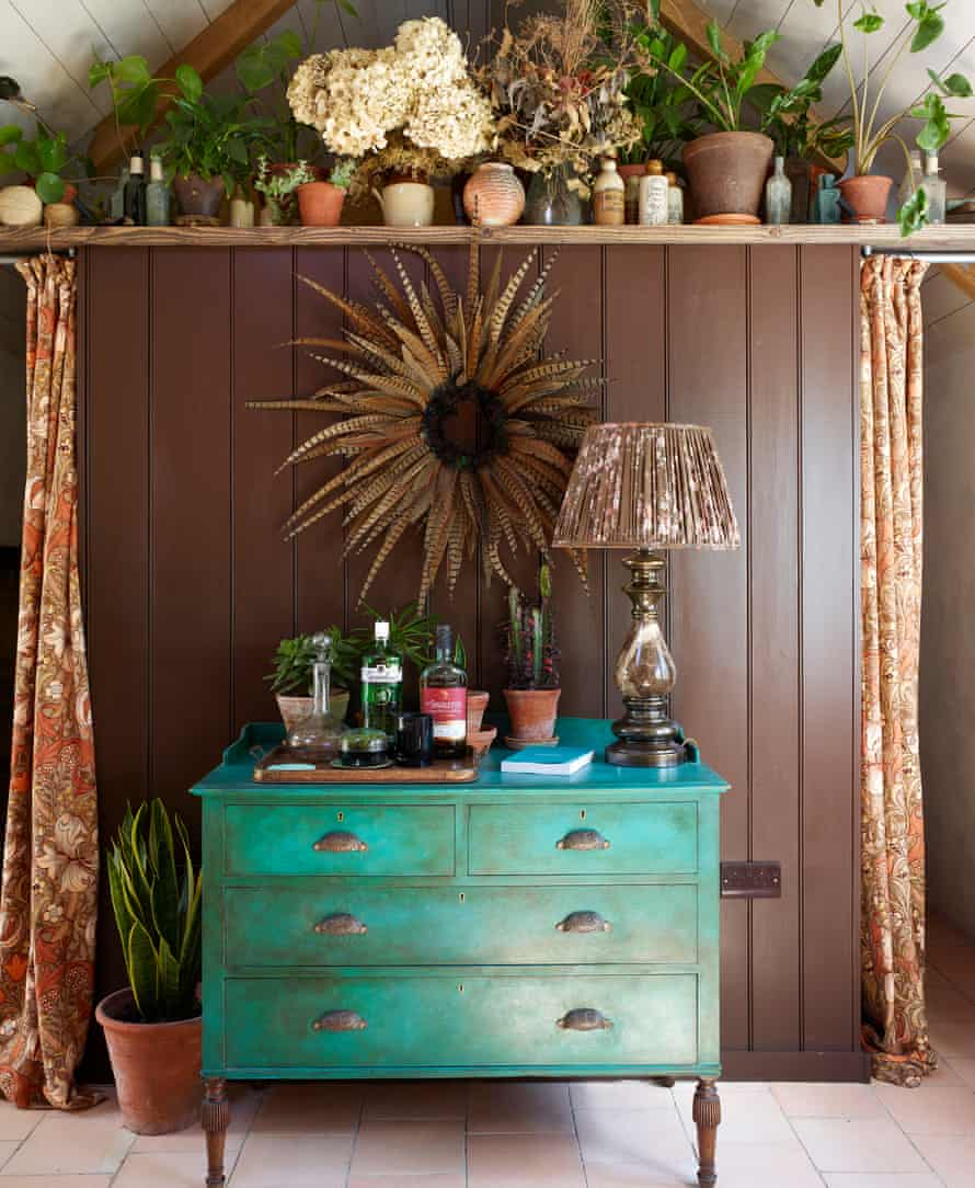 'It was lovely to stack things on the shelves; in a larger space, these details might barely register at all': reclaimed vintage decorative pieces.