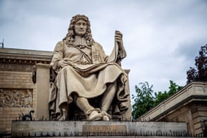 The statue of French statesman Jean-Baptiste Colbert in front of the French national assembly.