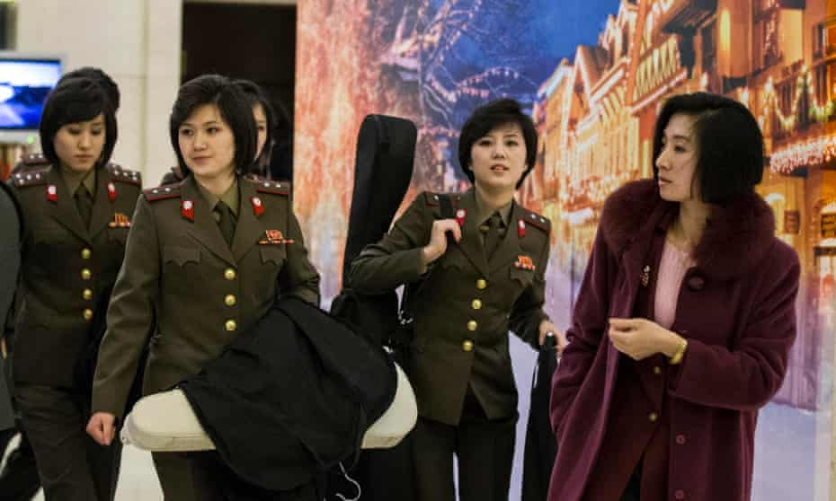 Members of the North Korean State Merited Chorus and the Moranbong Band at their Beijing hotel.