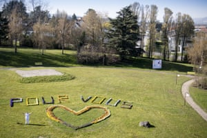 A message in flowers in Payerne, Switzerland