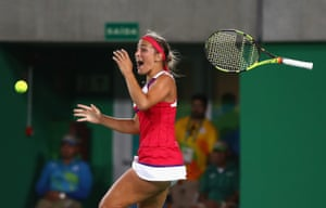 Monica Puig of Puerto Rico reacts after defeating Germany's Angelique Kerber in the women's singles final.