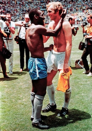 Brazil's Pele (left) and England's Bobby Moore exchange shirts after the match.