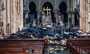 Inside the Notre Dame Cathedral in Paris after fire ravaged the building and destroyed its spire and roof