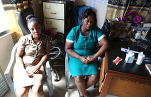Beatrice Amponfi (right) and Joy Glii (left) are in charge of the childcare and malnutrition unit at the Kasoa clinic