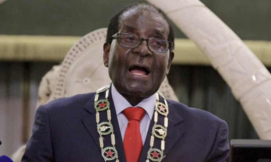 President Robert Mugabe delivers his state of the nation address to the Zimbabwean parliament in Harare.