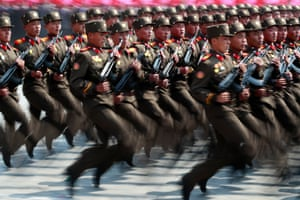 Soldiers march during the through Kim Il Sung Square in Pyongyang