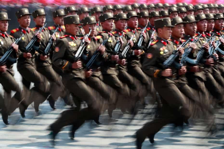 Soldiers march during a parade for the Day of the Sun festival on Kim Il-sung Square in Pyongyang, North Korea, in April