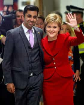SNP MSP  Humza Yousaf  with party leader Nicola Sturgeon