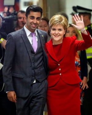 SNP MSP  Humza Yousaf  with party leader Nicola Sturgeon