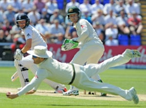 Lyon finds the edge, but it's a thick one and it's flying to the gap wide of second slip. Clarke, at first, leaps full length to his left and plucks it from the air perhaps four inches from the turf. Sensational.
