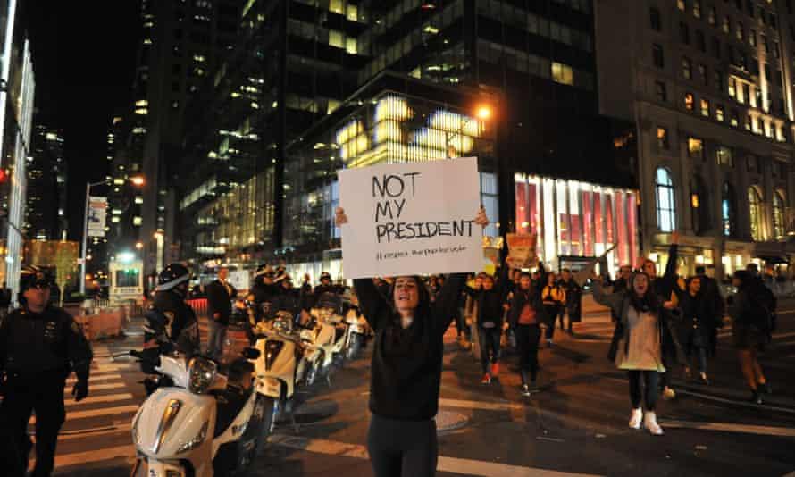 Hundreds protest near Trump Tower in Manhattan.