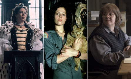 Olivia Colman in The Favourite, Sigourney Weaver in Alien and Melissa McCarthy in Will You Ever Forgive Me?