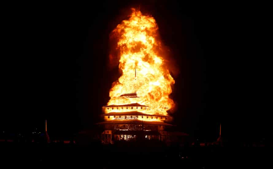 The temple burns.