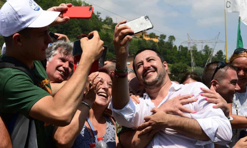 Matteo Salvini at the Lega's annual meeting in Pontida in July.