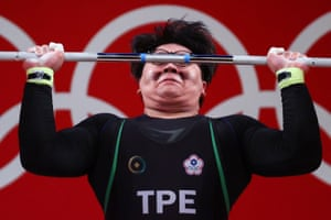 Hsieh Yun Ting of Taiwan in action in the men's +109kg weightlifting group.