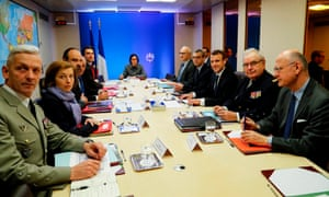 Emmanuel Macron at a meeting of France's defence council in Paris on 14 April.