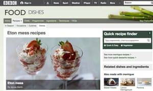 Bbc climbdown over online recipes after public outcry media the screengrab from the bbc recipes website forumfinder Choice Image