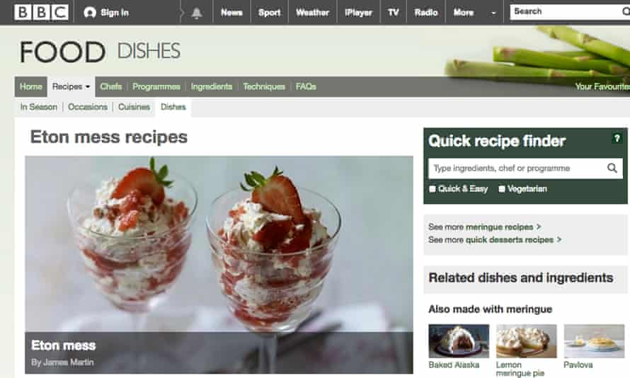 Screengrab from the BBC recipes website.