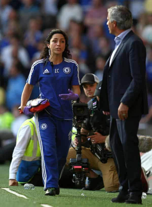 Eva Carneiro, the then Chelsea team doctor, argues with Jose Mourinho in August.