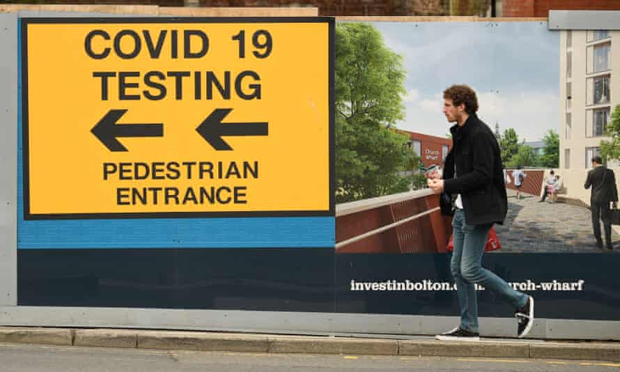 A sign for a Covid-19 test centre in Bolton, May 2021