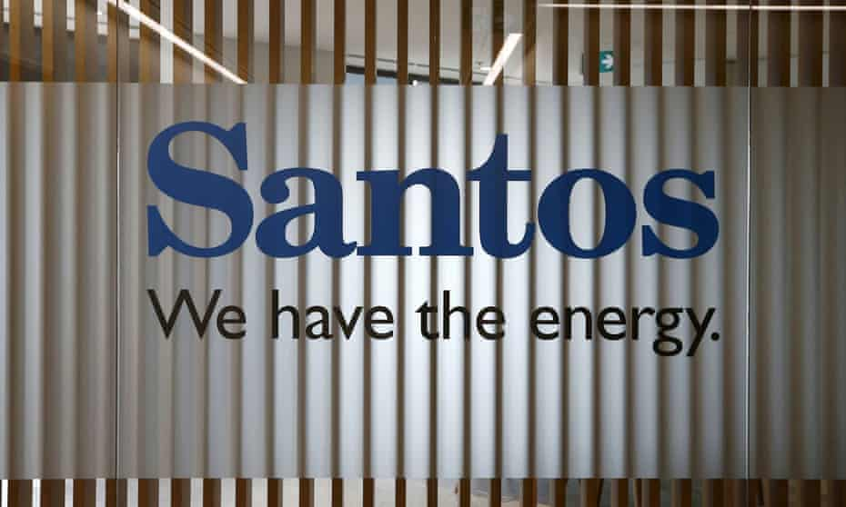 The logo of Australian oil and gas producer Santos pictured at their Sydney office