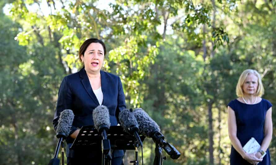 Queensland premier Annastacia Palazczuk (left) and the state's chief health officer, Jeannette Young, announce a three-day lockdown for the greater Brisbane area, effective as of 5pm on Monday.