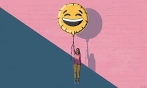 An illustration of a woman holding onto a balloon with a big laughing face which is lifting her off the ground, out of a dark blue background and into a pink background