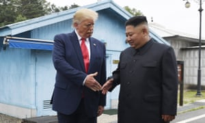 Donald Trump meets the North Korean leader, Kim Jong-un, at the border village of Panmunjom in the Demilitarized Zone, South Korea, on 30 June.