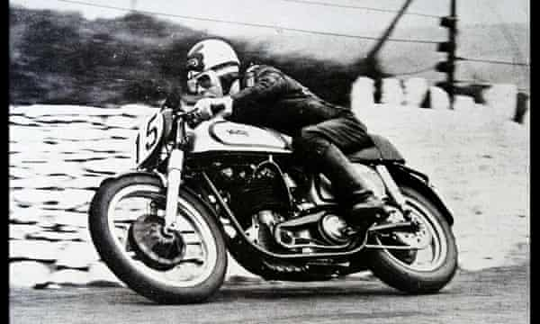 Reg Armstrong, winner of the Isle of Man TT in 1952, takes a corner on his Norton