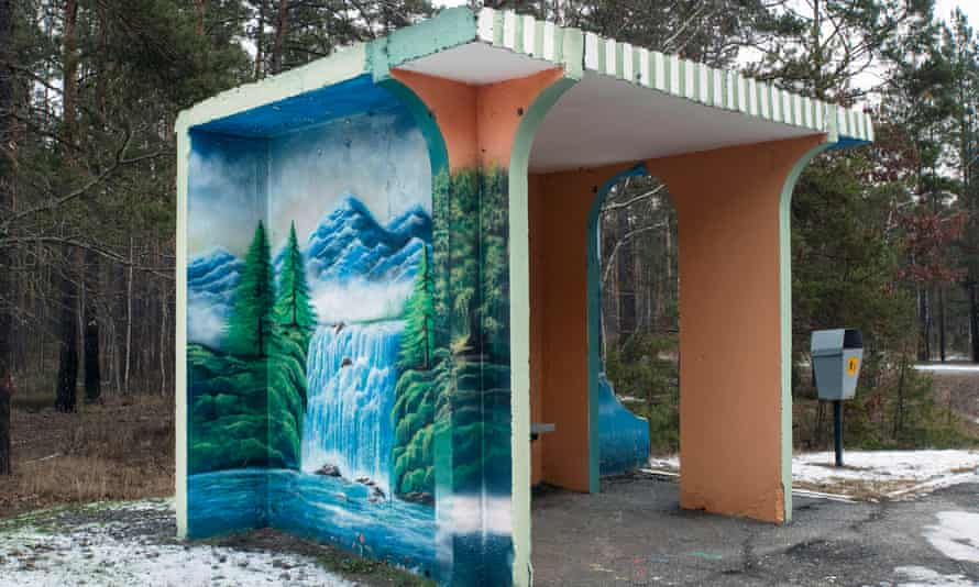 A colourfully decorated bus stop near Naroulia, a town on the border of the Polesia State Radioecological Reserve, which adjoins the Chernobyl exclusion zone.
