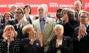 Jeremy Corbyn with Labour colleagues and trade unionists