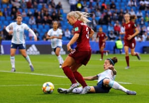 Alex Greenwood is fouled by Argentina's Ruth Bravo in the box.