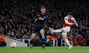 Arsenal's Lucas Torreira fires in a shot which deflects in for the second.