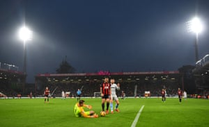 Artur Boruc gets down to safely secure the ball for Bournemouth.