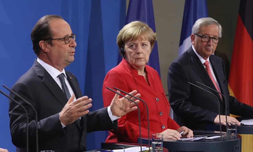 François Hollande, Angela Merkel and Jean-Claude Juncker