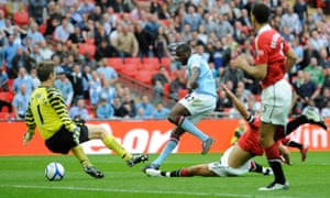 Yaya Touré scores the FA Cup semi-final goal against Manchester United that helped tip the balance between the clubs.