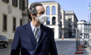 The governor of Lombardy, Attilio Fontana, in Milan on Sunday, the first day of mandatory face masks when not at home.