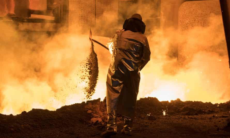 Steel worker at the blast furnace of German manufacturer Salzgitter