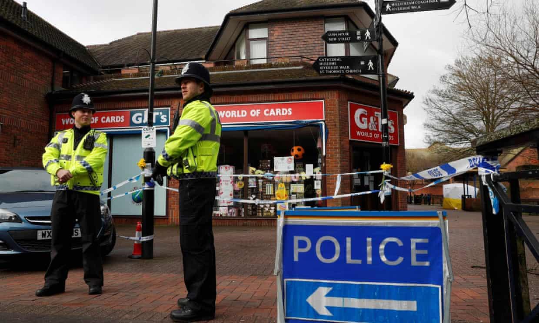 A police cordon in Salisbury