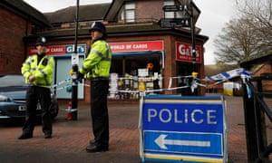 Police on duty at a cordon in Salisbury