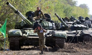 Pro-Russian separatists take part in military exercises near the town of Torez, in the Donetsk region.