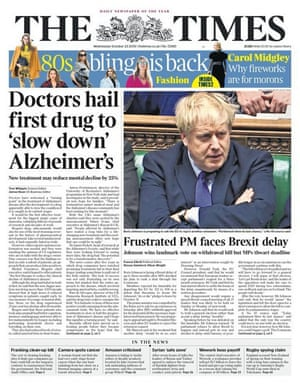 The times front page 23.10.19
