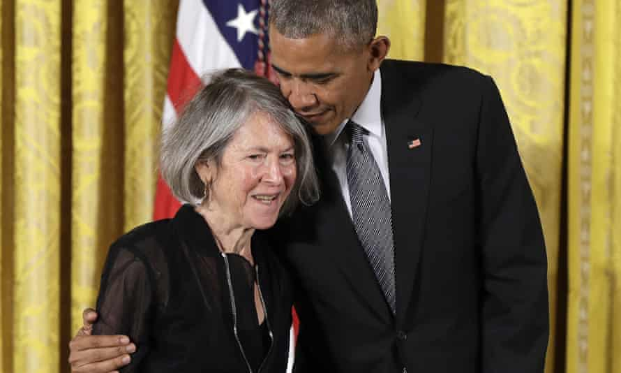 'Harnessing the power of the unfinished' … Louise Glück, receiving the 2015 National Humanities Medal at the White House from US president Barack Obama.