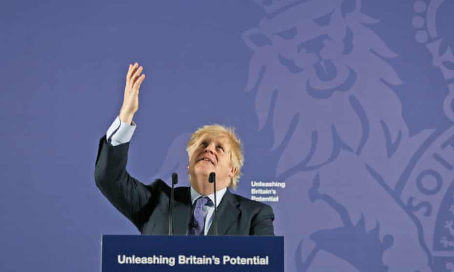 Boris Johnson gives his key speech at the Old Naval College in Greenwich, London, on 3 February 2020.