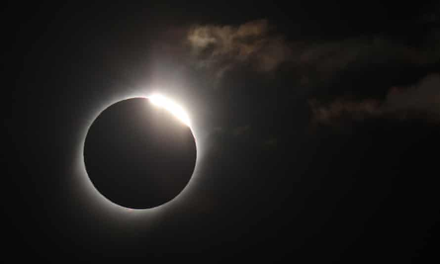The moon covers much of the sun during the total solar eclipse, in Merlo, San Luis, Argentina.