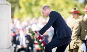 The Duke of Cambridge lays a wreath during an Anzac Day service at the Auckland War Memorial before travelling to Christchurch.
