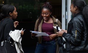 Students receiving their A-level results at City and Islington college, London, 17 August 2017.