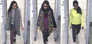 CCTV image of (l.t.r.) Kadiza Sultana, Shamima Begum, and Amira Abase going through security at Gatwick airport.