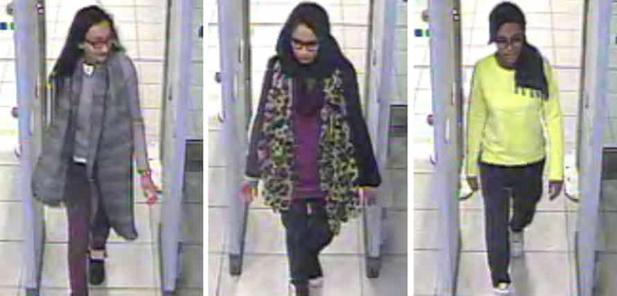 Kadiza Sultana, Shamima Begum and Amira Abase going through security at Gatwick airport on their way to join Isis.
