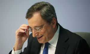 Mario Draghi  in Frankfurt after his final European Central Bank policy meeting.